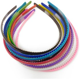 Set of Multi-Colour Plastic Sleek Hair Bands for Girls (Combo of 12 Hair Bands)