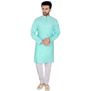 Kandy Sea Green  Long Cotton Kurta Pyjama Set For Mens