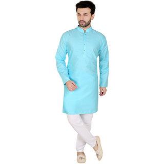 KandyTurquoise Blue  Long Cotton Kurta Pyjama Set For Mens
