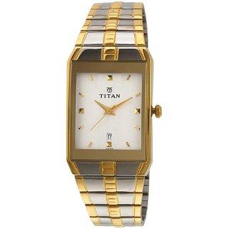 Titan Rectangle Gold Metal Men 9151Bm01 Elegant Watch