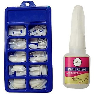 Artificial Reusable Nails Set Nail Glue(10gm), Extreme Upper Arch For a Dramatic Look, Empress Curve, Perfect F