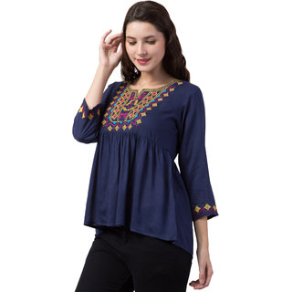 FashionNyou Self Design Stylist Cotton Top for Beautiful Women  Girls (Made in India)