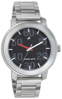 Fastrack 3121SM02 Black Round Dial Silver Stainless Steel Strap Analog Watch For Men