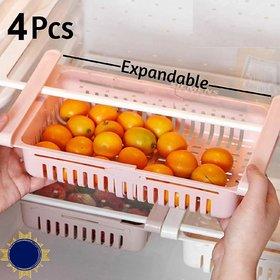 Adjustable Fridge Storage Basket,Expandable Fridge Storage Rack, Fridge Storage Boxes (Pack of 4)