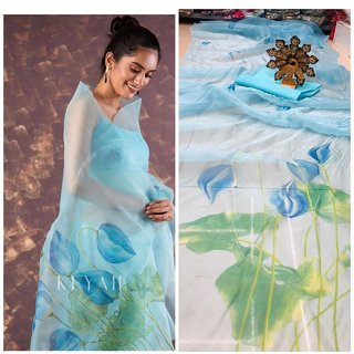 Ultimate Ecommerce Sea Sky Organza Digital Print Saree With Blouse ( Light Blue )