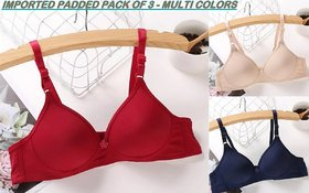 Rayyans (Pack of 3)Imported PADDED Plain Soft n High Quality Wire Free Sexy Cotton Bra (Color n Design may Vary)