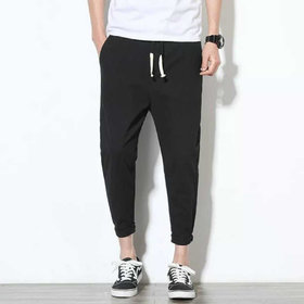Pause Men Black Comfort Fit Ankle Length Solid Casual Trousers