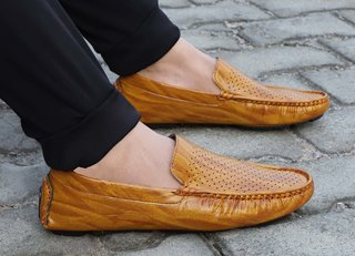 Aadi Men's Tan Synthetic Leather Casual Outdoor Loafer