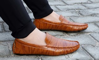 Aadi Men's Brown Synthetic Leather Casual Outdoor Loafer