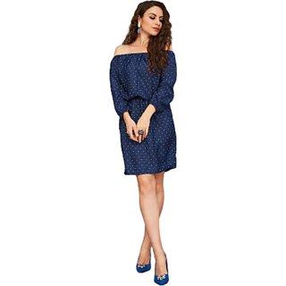 Designer soft crepe off shoulder printed dress for women