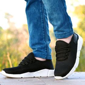 Groofer Men's Breathable Mesh Black Sport Shoes Sneakers