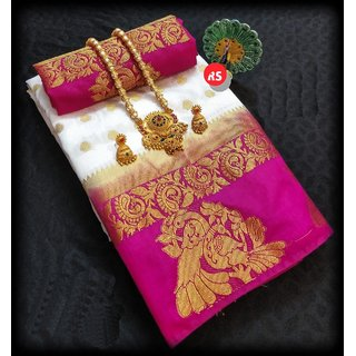 Meia Women's Kanjivaram Art Silk Saree With Blouse Piece