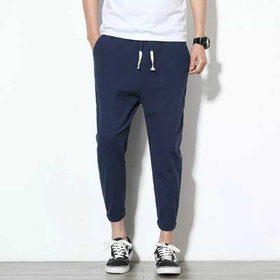 Pause Men Blue Comfort Fit Ankle Length Solid Casual Trousers
