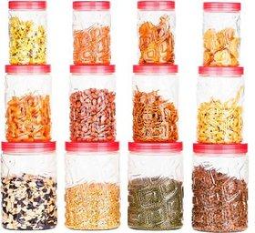 BLUMOON Zig-Zag Containers Set Kitchen Storage Containers Set Of 12 - 400 ml, 750 ml, 1200 ml Plastic Grocery Container
