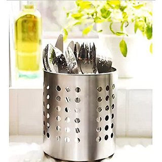 Geet Stainless Steel Spoon, Cutlery Pen Holder, Brush Stand (Design May Vary)
