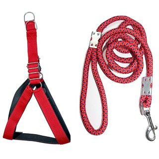 Tame Love Padded Harness and Leash Chest Belt for Medium Dogs of All Breeds (Red Color - 1 inches)