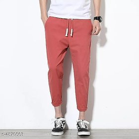 Pause Men Red Comfort Fit Ankle Length Solid Casual Trousers