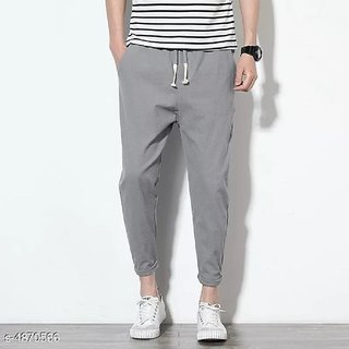 Pause Men Grey Solid Ankle Length Trouser