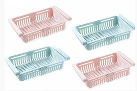 Adjustable Fridge Storage Basket, Fridge Racks Tray Sliding Storage Racks set of 2 basket