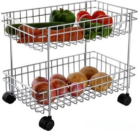 2 Layer Fruit and Vegetable Stand/Basket/Trolley Modern Kitchen Storage Rack (Silver)