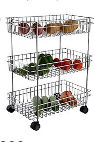 3 Layer Fruit and Vegetable Stand/Basket/Trolley Modern Kitchen Storage Rack (Silver)