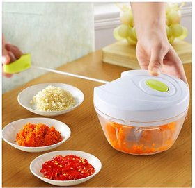 New Handy Mini Plastic Chopper, Handy Vegetable Chopper, Quick Cutter for Kitchen with 3 Stainless Steel Blade