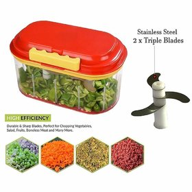 Unbreakable Hand-Powered Double Bowl Twin Fruit  Vegetable Big Twin Chopper with 2 Chopping Blade Cutter  Chopper