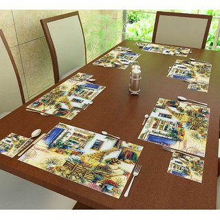 6 Pieces Table Coasters  6 Pieces Table Mat (Assorted design and color)