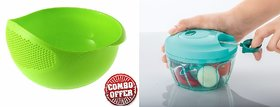Plastic Vegetable Fruits Pulses Washing Bowl and Strainer With Easy Pull Smart Plastic Vegetable Chopper Combo Offer