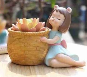 Home Artists Resin Girl Basket Pot