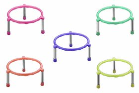 Sudani's  Heavy Stainless Steel Legs Matka Ring Stand/Pot Stand, pot for plants combo of 5