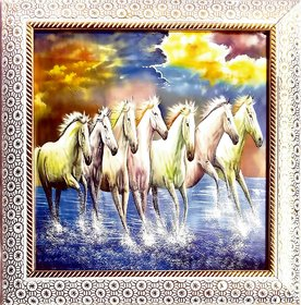 Art Seven Horse Running at Sunrise Painting with Frame Painting Digital Reprint 10 inch x 10 inch Painting