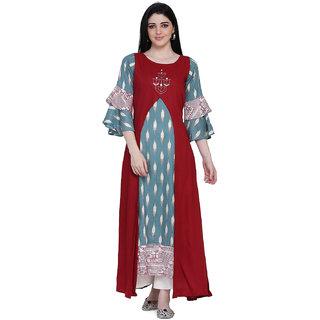 Manisha Fashion Women's Red Rayon Printed Kurti