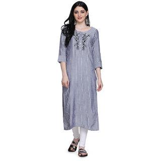 Manisha Fashion Women's Blue Rayon Striped Kurti