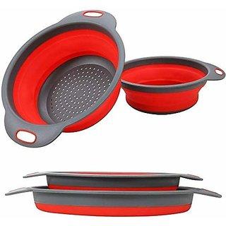 BPA Free Plastic Silicone Folding Strainer Kitchen Collapsible, Fruits Vegetables Washing Bowl Basket