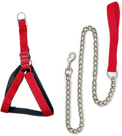 Tame Love Padded Harness Chest Belt and Padded Leash Chain for Medium Dog of all breeds (Red color - 1 Inch)