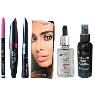MyShopPrime Huda Beauty Mascara, Eyebrow Pencil, Liquid Eyeliner  2-I Face priner nd face fixer combo