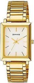 Sonata Analog White Dial Mens Watch - Nf7078Ym01