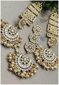 Ethnic Indian Bollywood Pearl Kundan Designer Long Earrings Tikka Set