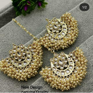 Ethnic Indian Bollywood Pearl Kundan Designer Earrings Tikka Set