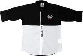 FK Fox Kids Boy's Black Cotton Colour Block Shirt