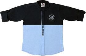 FK Fox Kids Boy's Light Blue Cotton Colour Block Shirt