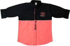 FK Fox Kids Boy's Peach Cotton Colour Block Shirt