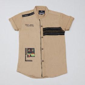 FK Fox Kids Boy's Cotton Half Sleeve Beige Shirt