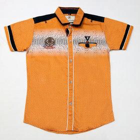 FK Fox Kids Boy's Cotton Half Sleeve Gold Shirt