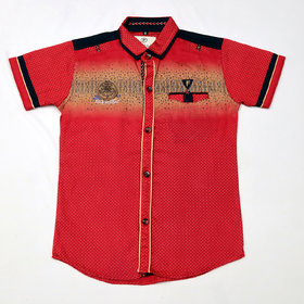 FK Fox Kids Boy's Cotton Half Sleeve Red Shirt
