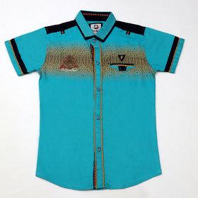 FK Fox Kids Boy's Cotton Half Sleeve Turquoise Shirt