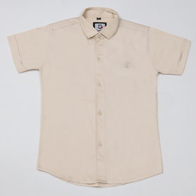 FK Fox Kids Boy's Satin Half Sleeve Beige Shirt