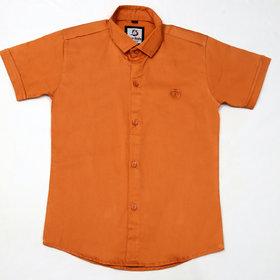 FK Fox Kids Boy's Satin Half Sleeve Orange Shirt