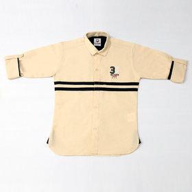 FK Fox Kids Boy's Cotton Roll-up Sleeve Beige Shirt